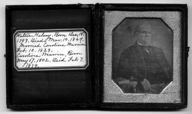 Old tin type photo of Walter Halsey in a black case.
