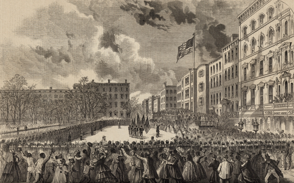 Engraving - In Union Square in New York City, the 20th U. S. C. T. receives its colors and departs for New Orleans.